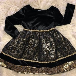 Youngland Christmas/party black and gold dress